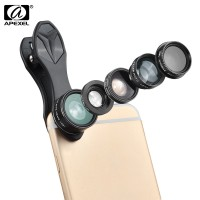 APEXEL APL - DG5 5 in 1 Camera Phone Lens Kit 198 Degree Fisheye 0.65X Wide Angle 15X Macro 2X Telephoto Polarizer Shutterbug Necessary for iPhone Samsung Xiaomi ZTE Notebook PC Τεχνολογία