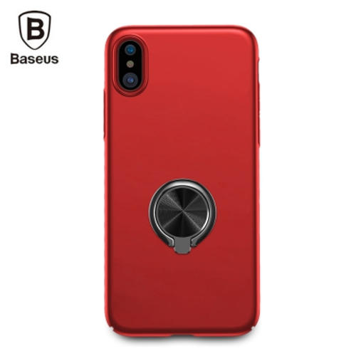 Baseus Ring Bracket Case Protective PC Back Cover RED for iPhone X (WIAPIPHX-ZH09)