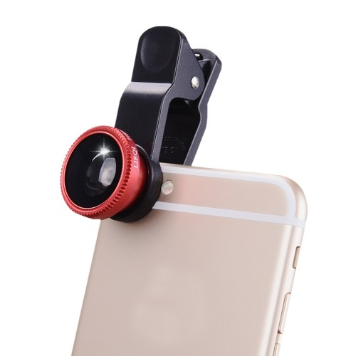 3 in1 Fish Eye Wide Angle Macro Camera Clip-on Lens for Universal Cell Phone Red