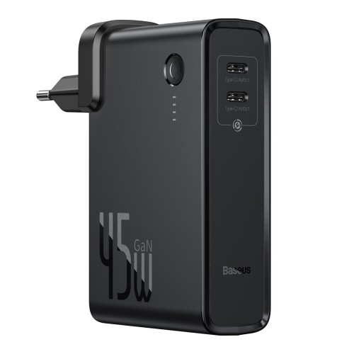 Baseus GaN Φορτιστής και Power Bank 10000 mAh, PPS, 45W, 2x USB Typ C, Quick Charge 3.0 + καλώδιο USB Type C 1m - Μαύρο (PPNLD-F01)