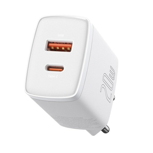 Baseus Compact quick charger USB Type C / USB 20 W 3 A Power Delivery Quick Charge 3.0 white (CCXJ-B02) Λευκό