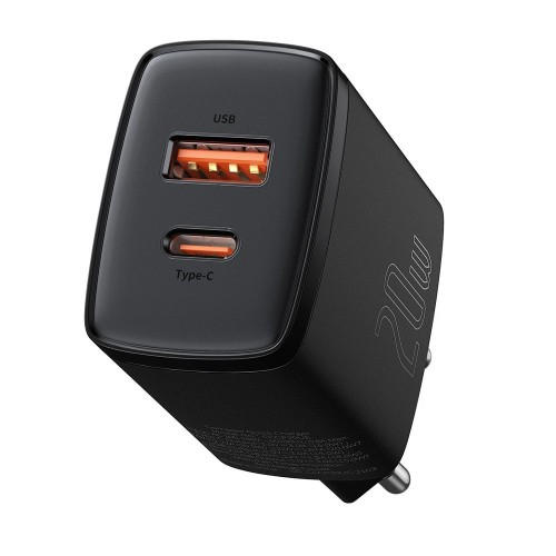Baseus Compact quick charger USB Type C / USB 20 W 3 A Power Delivery Quick Charge 3.0 black (CCXJ-B01)