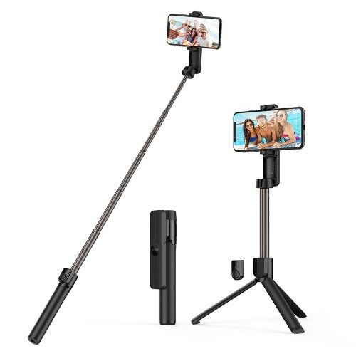 BlitzWolf® BW-BS2 bluetooth Selfie Stick with Integrated Tripod, Removable Remote Control, Extends up to 864mm and Convenient Phone Clamp