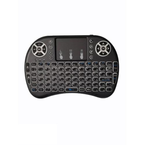 OEM I8-L Pro Backlit ασύρματο πληκτρολόγιο wireless black mini remote keyboard, touch pad for PC, smart TV, android TV Box (ΜΠΑΤΑΡΙΑ Li-Ion 1020mAh)