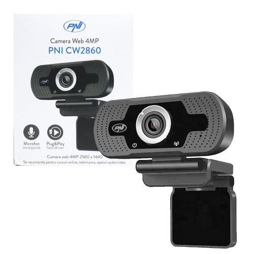 PNI CW2860 Webcam Full HD 4MP, USB, Clip-on, Ενσωματωμένο μικρόφωνο, Σύνδεση υπολογιστή / φορητού υπολογιστή, 30fps, Αυτόματη διόρθωση χρώματος