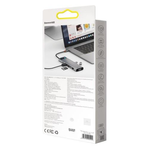 Baseus Metal Gleam 11in1 multifunctional HUB USB Type C - 3x USB 3.2 Gen 1 5Gbps / USB Type C PD 100W / 3,5 mm mini jack AUX / VGA Full HD 60Hz / 2x HDMI 4K 30Hz / TF and SD card reader / RJ45 1Gbps gray (CAHUB-CT0G)