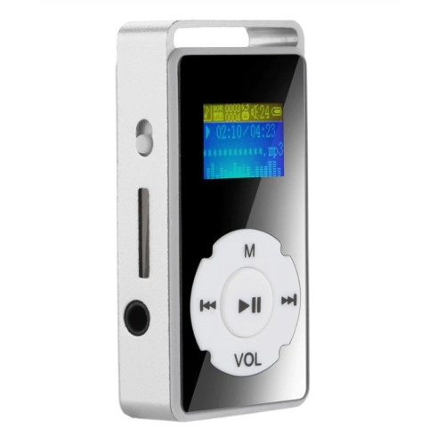 2019 HOT Digital MP3 Player LCD Screen Support Micro SD TF Card 32G Mirror Music Media silver