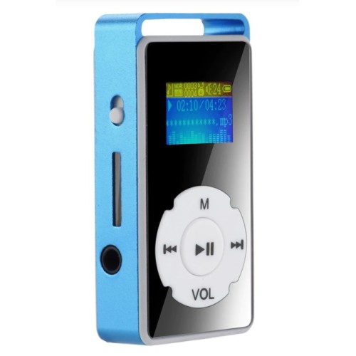 2019 HOT Digital MP3 Player LCD Screen Support Micro SD TF Card 32G Mirror Music Media blue