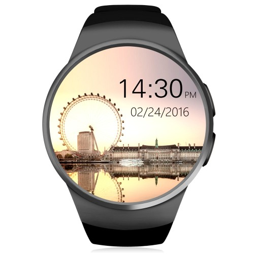 KingWear KW18 1.3 inch Round Dial Smartwatch Phone MTK2502 IPS Screen Pedometer Sedentary Reminder Bluetooth 4.0 Heart Rate Monitor Black