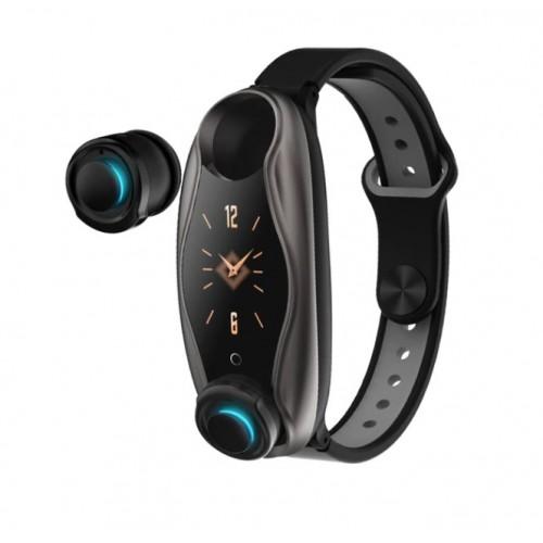 LEMFO LT04 T90 Fitness Bracelet Wireless Bluetooth Earphone 2 In 1 Bluetooth 5.0 Chip IP67 Waterproof Sport Smart Watch GUN BLACK GRAY