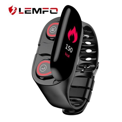 LEMFO Smart Watch Men Fashion M1 With Bluetooth Headphone Heart Rate Monitor Smart Wristband Sport Tracker For Men Women BLACK