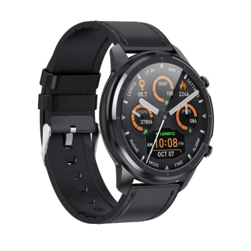 LEMFO LF26 Smart Watch 360*360 Higher Resolution Full Touch Screen Heart Rate Monitor Blood Pressure IP67 Waterproof Smartwatch BLACK
