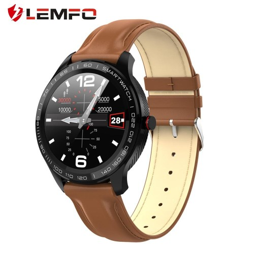 LEMFO L7 PPG + ECG Smart Watch Men Full Round Touch IP68 Waterproof Bluetooth Call Heart Rate Smart Bracelet Android IOS silver+brown