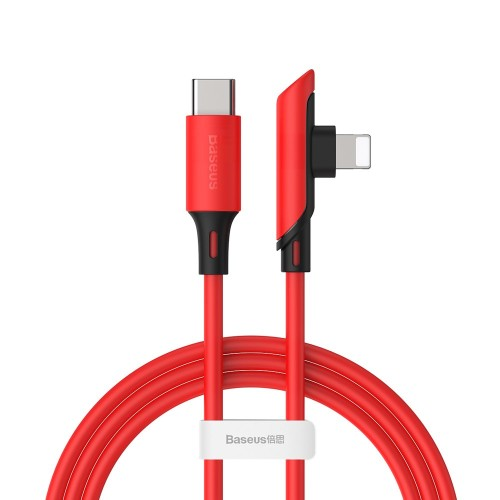 Baseus Colourful elbow angled cable with side plug USB Typ C PD 18W - Lightning 1,2m red (CATLDC-A09)