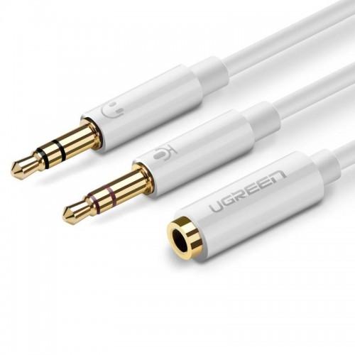 Καλώδιο ήχου UGREEN AV141 3.5mm Θηλυκό σε 2 Αρσενικά - Λευκό 20897