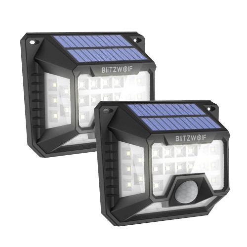 BlitzWolf® BW-OLT3 Solar Wall Light 2Pcs with 270°Wide Lighting Area, 32 Bright LEDs, 120°PIR Sensor, 1200mAh High Capacity and IP64 Waterproof