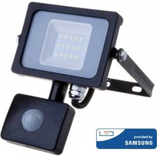 V-TAC Προβολέας LED Samsung chip 10W Ψυχρό λευκό 6400K Μαύρο σώμα με ανιχνευτή