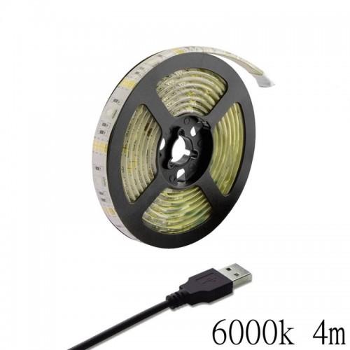 LED ταινία-strip 5050 USB 4m 19.2W white αδιάβροχη σιλικόνης με ταινία διπλής όψεως 6000K OEM