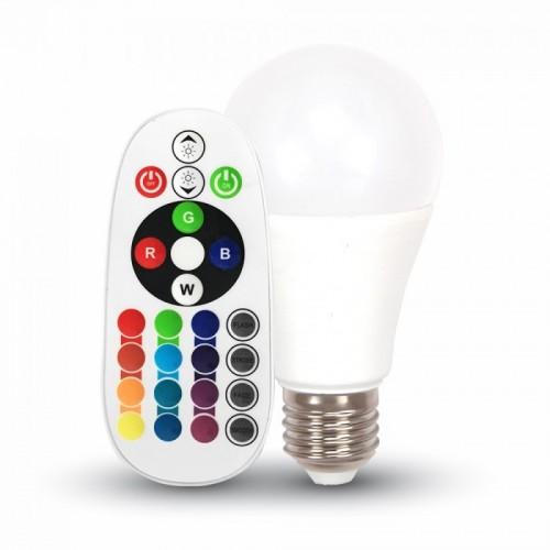 V-TAC Λάμπα LED E27 A60 SMD 6W Θερμό λευκό + RGB 3000K Λευκό 7121