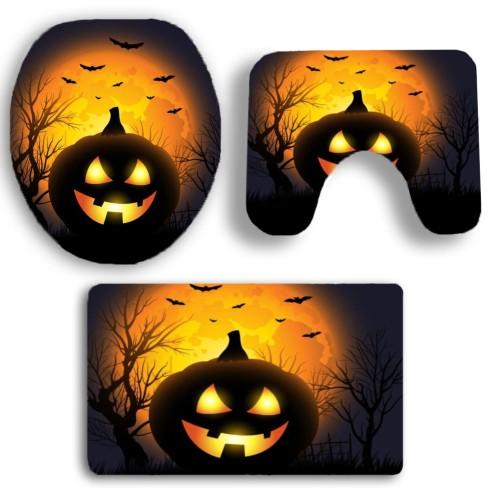 Κάλυμμα λεκάνης και πατάκι Halloween 3τμχ