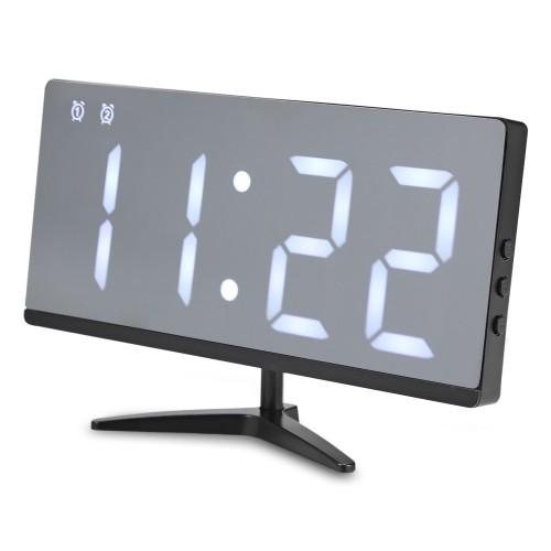 επιτραπέζιο ρολόι DS-6615 WHITE LED Mirror Digital Alarm Clock Multifunction Snooze Display Time with Bracket