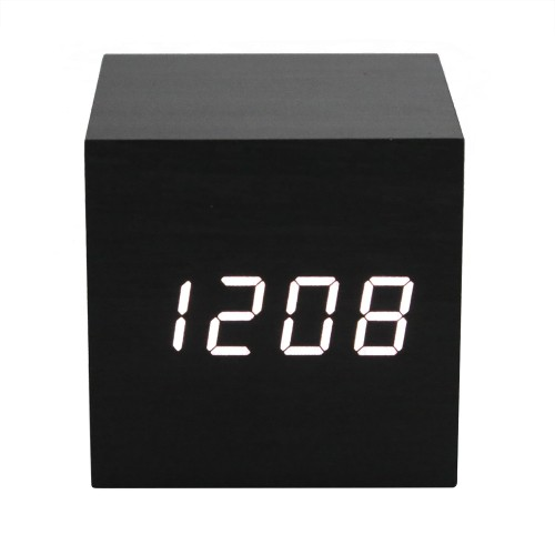 Επιτραπέζιο Ξύλινο ρολόι E07 - Multifunction Display Thermometer Wooden Alarm Clock