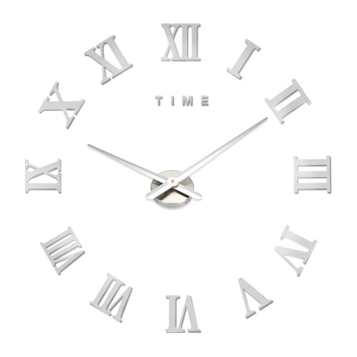 Αυτοκόλλητο Ρολόι Τοίχου SILVER M.Sparkling DIY Wall Clock Roman Numeral Scales Home Decor- Μεγάλο -