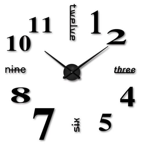 Αυτοκόλλητο Ρολόι Τοίχου Με Νούμερα (μικρό)  BLACK DIY Wall Mounted Clock Modern Unique Numbers Design Decorative OEM