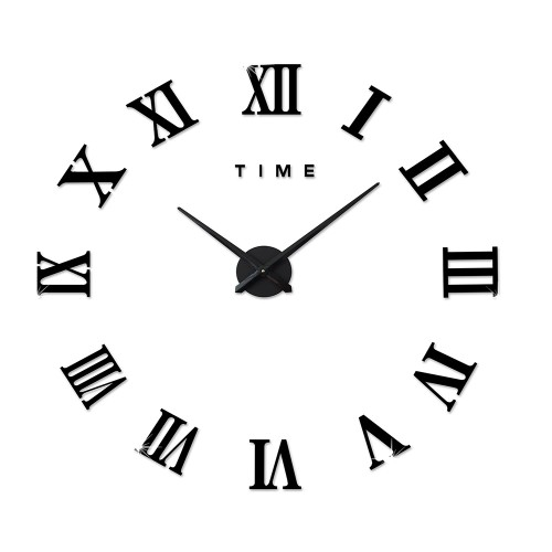 Αυτοκόλλητο Ρολόι Τοίχου BLACK M.Sparkling DIY Wall Clock Roman Numeral Scales Home Decor- Μεγάλο -