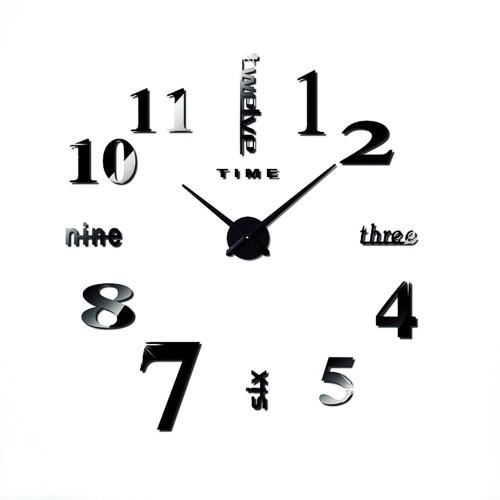 Αυτοκόλλητο Ρολόι Τοίχου BLACK DIY Creative Fashion Watch Silent Wall Stickers μεγάλο Σπίτι - Κήπος