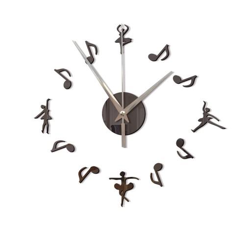 Αυτοκόλλητο Ρολόι Τοίχου  GUNMETAL Ballet Girl DIY Musical Notes Mirror Wall Hanging Wall Clock