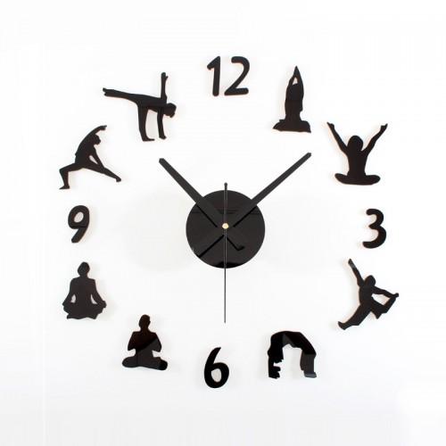 Αυτοκόλλητο Ρολόι Τοίχου  BLACK YOGA DIY Modern Contemporary Acrylic AA Wall Clock