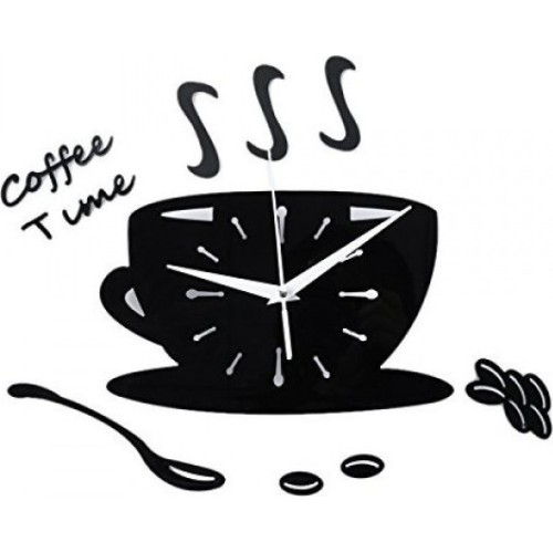 Αυτοκόλλητο Ρολόι Τοίχου  BLACK DIY Coffee Time Acrylic Mirror Wall Stickers Wall Clock Stickers