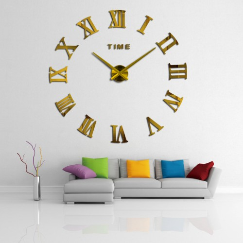 Αυτοκόλλητο Ρολόι Τοίχου GOLD M.Sparkling DIY Wall Clock Roman Numeral Scales Home Decor- Μεγάλο -