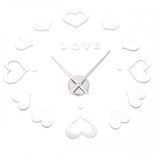 Αυτοκόλλητο Ρολόι Τοίχου SILVER M.Sparkling Heart Shape Mirror Effect Sticker DIY Digital Clock- Μεγάλο - Σπίτι - Κήπος