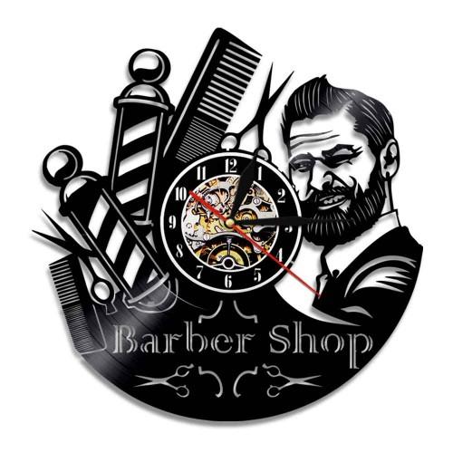 Ρολόι Τοίχου από βινύλιο 3D barber shop  Σπίτι - Κήπος