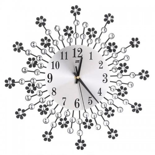 Ρολόι Τοίχου 3D μεταλλικό-πλαστικό με κρύσταλλα και λουλούδια 35εκ Σπίτι - Κήπος
