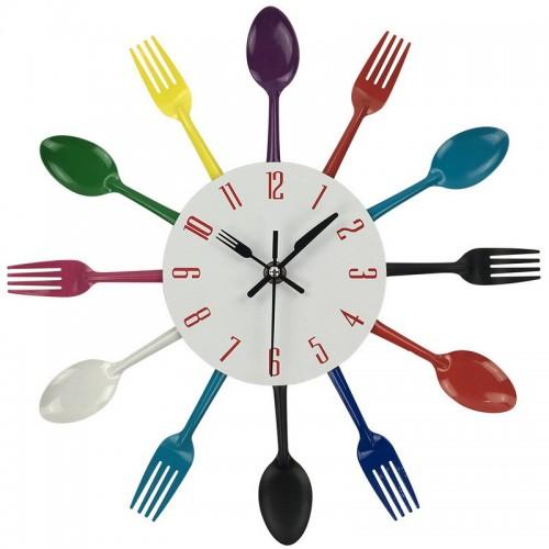 Ρολόι τοίχου μεταλλικό πιρούνια-κουτάλια multicolor