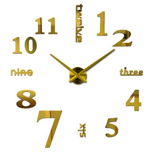 Αυτοκόλλητο Ρολόι Τοίχου MIRROR DIY Creative Fashion Watch Silent Wall Stickers  ΧΡΥΣΟ  μεγάλο