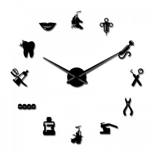 OEM T4255B Αυτοκόλλητο Ρολόι Τοίχου Dentist DIY Giant Wall Clock Μαύρο