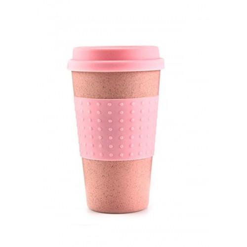 Κούπα Καφέ Οικολογική από Bamboo με Ροζ πιάσιμο και καπάκι