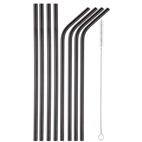 8 Μεταλλικά Καλαμάκια titanium black και 1 βουρτσάκι καθαρισμού  Σπίτι - Κήπος