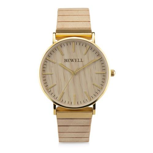 Bewell ZS W1127S quartz warm white Unisex Αδιάβροχο Ξύλινο Ρολόι Καρπού