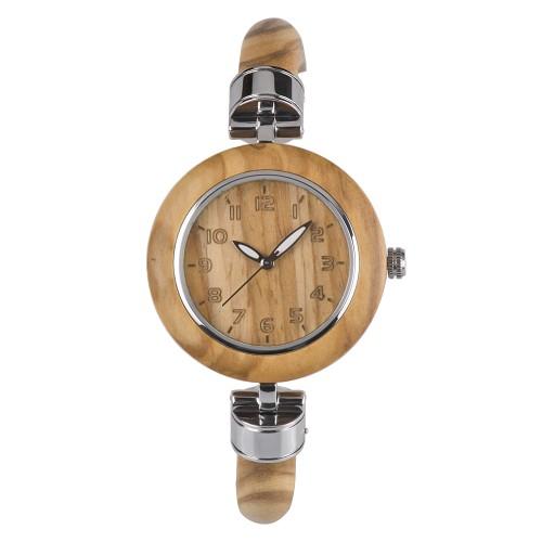 Bewell ZS W151A Γυναικείο Αδιάβροχο Ξύλινο Ρολόι Καρπού Zebra wood Μόδα