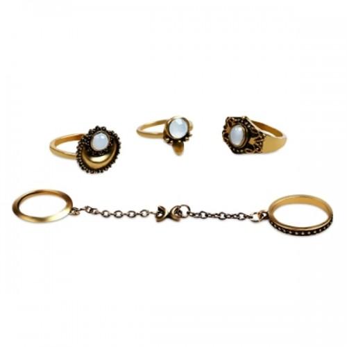 Σετ δαχτυλίδια 5 τεμάχια - Fashion National Style Alloy Rings for Ladies Golden