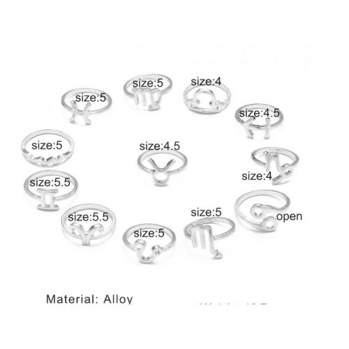 Σετ δαχτυλίδια 12τμχ φο μπιζού - Ασημί Ζώδια