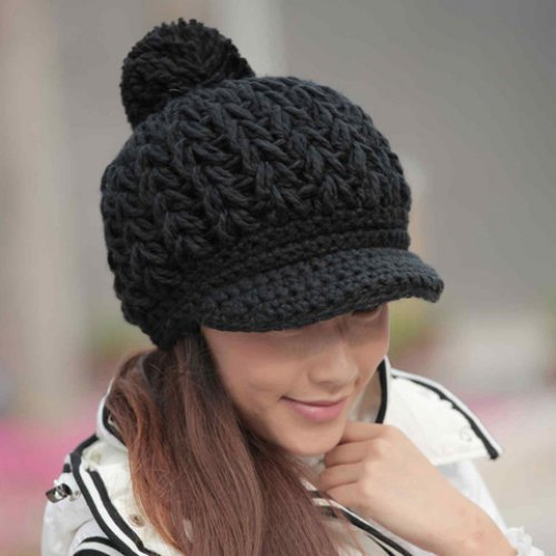 Hot Sale Fuzzy Ball Pure Color Knitted Woolen Yarn Hat For Women