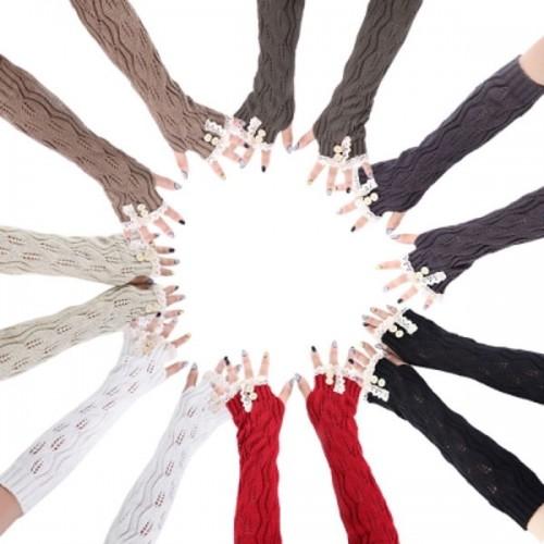 Γυναικεία γάντια Stylish Lace Decoration Button Hollow Out Design Girls Long Gloves Χακί