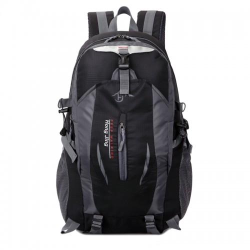 Hong Jing keep walking Casual Waterproof Simple Backpack τσάντας πλάτης αδιάβροχη μαύρο-γκρι  40L