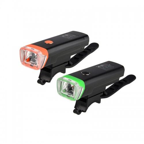 HJ047 USB Rechargeable Waterproof Bike Front Handlebar Flashlight - Μαύρο με Πορτοκλί